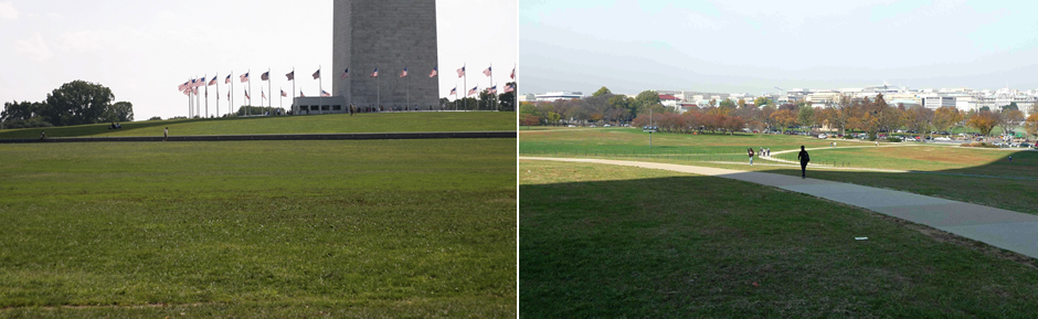 Today the unformed expanse of the 60 acre Monument grounds shows little evidence of the ideas of the past.